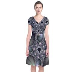 Precious Spiral Wallpaper Short Sleeve Front Wrap Dress