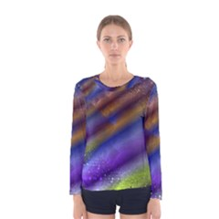 Fractal Color Stripes Women s Long Sleeve Tee