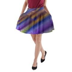 Fractal Color Stripes A Line Pocket Skirt