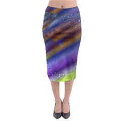 Fractal Color Stripes Midi Pencil Skirt