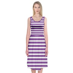 Horizontal Stripes Purple Midi Sleeveless Dress