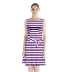 Horizontal Stripes Purple Sleeveless Chiffon Waist Tie Dress