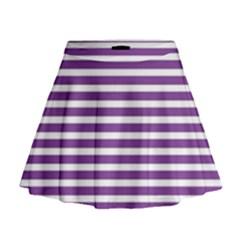 Horizontal Stripes Purple Mini Flare Skirt