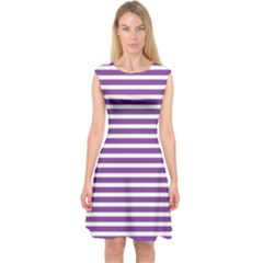 Horizontal Stripes Purple Capsleeve Midi Dress