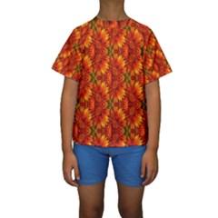 Background Flower Fractal Kids  Short Sleeve Swimwear