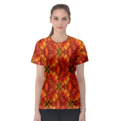 Background Flower Fractal Women s Sport Mesh Tee