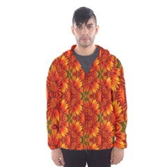 Background Flower Fractal Hooded Wind Breaker (Men)