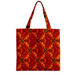 Background Flower Fractal Zipper Grocery Tote Bag
