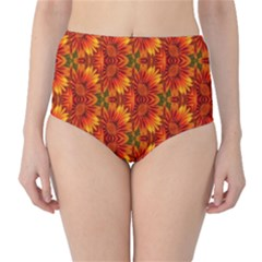 Background Flower Fractal High-Waist Bikini Bottoms