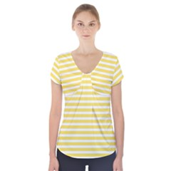 Horizontal Stripes Yellow Short Sleeve Front Detail Top