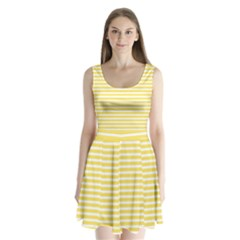 Horizontal Stripes Yellow Split Back Mini Dress