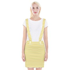Horizontal Stripes Yellow Suspender Skirt