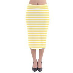 Horizontal Stripes Yellow Velvet Midi Pencil Skirt
