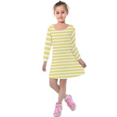 Horizontal Stripes Yellow Kids  Long Sleeve Velvet Dress
