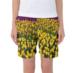 Colorful Tulips In Keukenhof Gardens Wallpaper Women s Basketball Shorts
