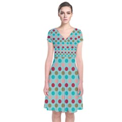 Large Colored Polka Dots Line Circle Short Sleeve Front Wrap Dress