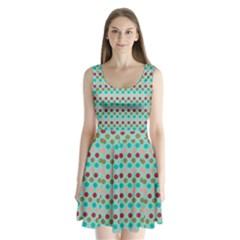 Large Colored Polka Dots Line Circle Split Back Mini Dress
