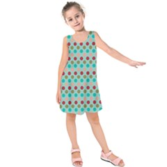 Large Colored Polka Dots Line Circle Kids  Sleeveless Dress
