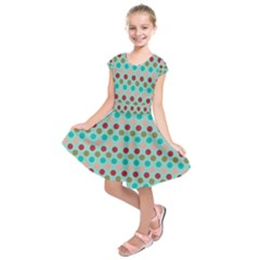 Large Colored Polka Dots Line Circle Kids  Short Sleeve Dress