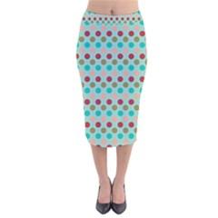 Large Colored Polka Dots Line Circle Velvet Midi Pencil Skirt