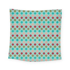 Large Colored Polka Dots Line Circle Square Tapestry (small)