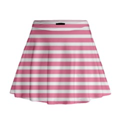Horizontal Stripes Light Pink Mini Flare Skirt