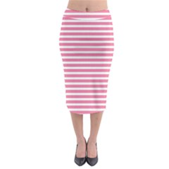 Horizontal Stripes Light Pink Midi Pencil Skirt