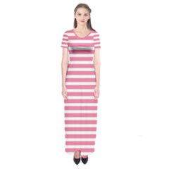 Horizontal Stripes Light Pink Short Sleeve Maxi Dress