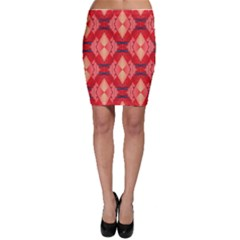 Orange Fractal Background Bodycon Skirt