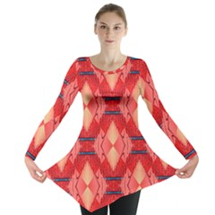 Orange Fractal Background Long Sleeve Tunic