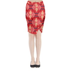 Orange Fractal Background Midi Wrap Pencil Skirt
