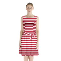 Horizontal Stripes Red Sleeveless Chiffon Waist Tie Dress