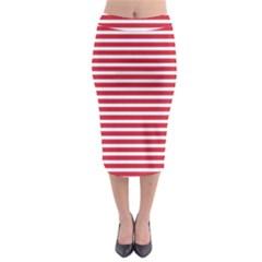 Horizontal Stripes Red Midi Pencil Skirt