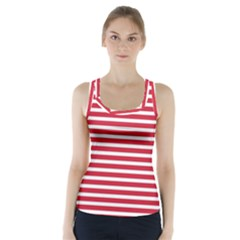 Horizontal Stripes Red Racer Back Sports Top