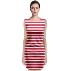 Horizontal Stripes Red Sleeveless Velvet Midi Dress