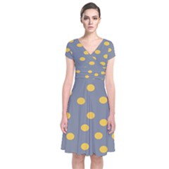 Limpet Polka Dot Yellow Grey Short Sleeve Front Wrap Dress