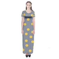 Limpet Polka Dot Yellow Grey Short Sleeve Maxi Dress