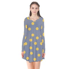 Limpet Polka Dot Yellow Grey Flare Dress
