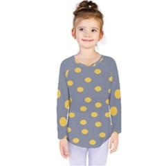 Limpet Polka Dot Yellow Grey Kids  Long Sleeve Tee
