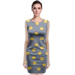Limpet Polka Dot Yellow Grey Sleeveless Velvet Midi Dress