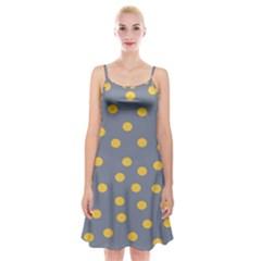 Limpet Polka Dot Yellow Grey Spaghetti Strap Velvet Dress