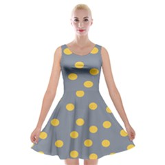 Limpet Polka Dot Yellow Grey Velvet Skater Dress