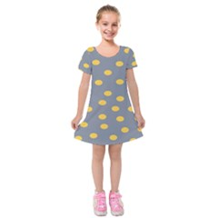 Limpet Polka Dot Yellow Grey Kids  Short Sleeve Velvet Dress