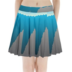 Mariana Trench Sea Beach Water Blue Pleated Mini Skirt