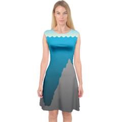 Mariana Trench Sea Beach Water Blue Capsleeve Midi Dress
