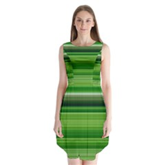 Horizontal Stripes Line Green Sleeveless Chiffon Dress