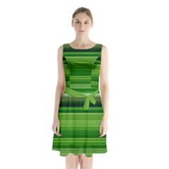 Horizontal Stripes Line Green Sleeveless Chiffon Waist Tie Dress