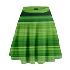 Horizontal Stripes Line Green High Waist Skirt