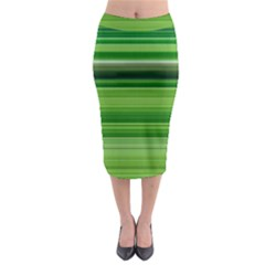 Horizontal Stripes Line Green Midi Pencil Skirt