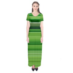 Horizontal Stripes Line Green Short Sleeve Maxi Dress
